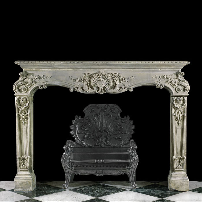 Highly carved Louis XV Rococo Baroque antique stone fireplace