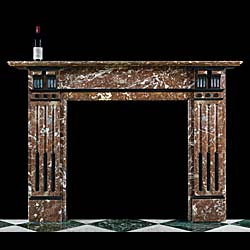 A Belgian Black and Languedoc Marble Victorian Fireplace