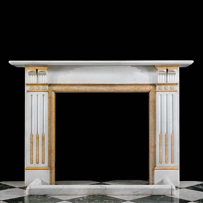 A Crema Valencia Marble Antique Fireplace