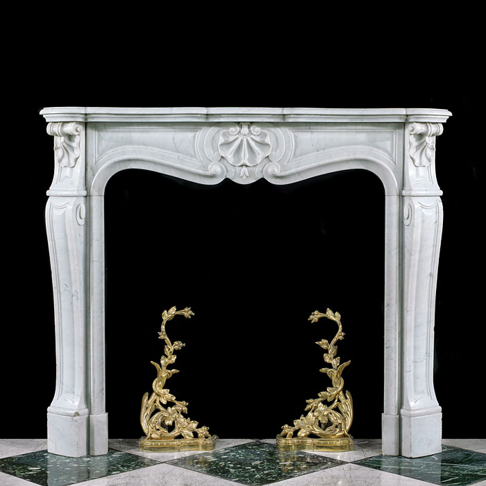 French Rococo Style Marble Fireplace Mantel