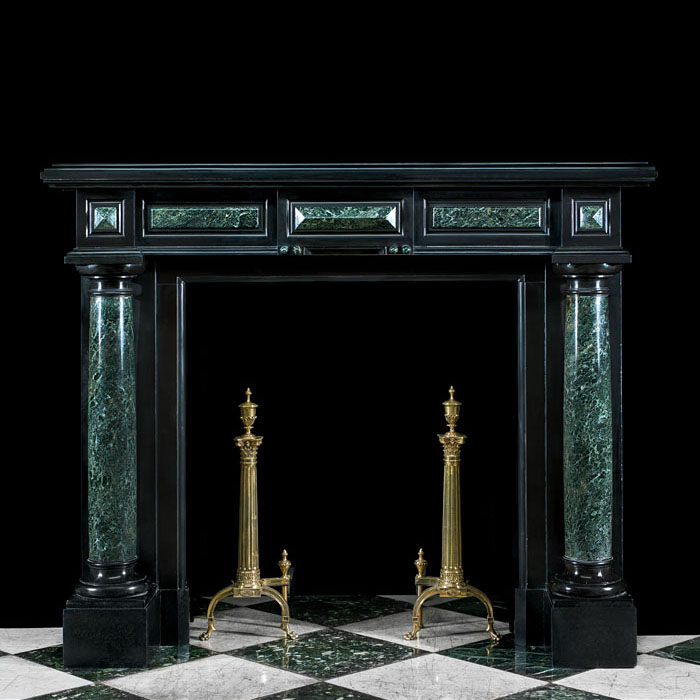 A Belgian Black and Verde Antico Marble Renaissance fireplace
