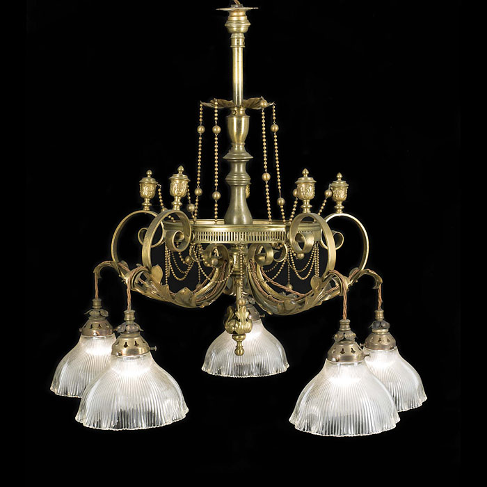Attractive patinated brass five light antique chandelier
