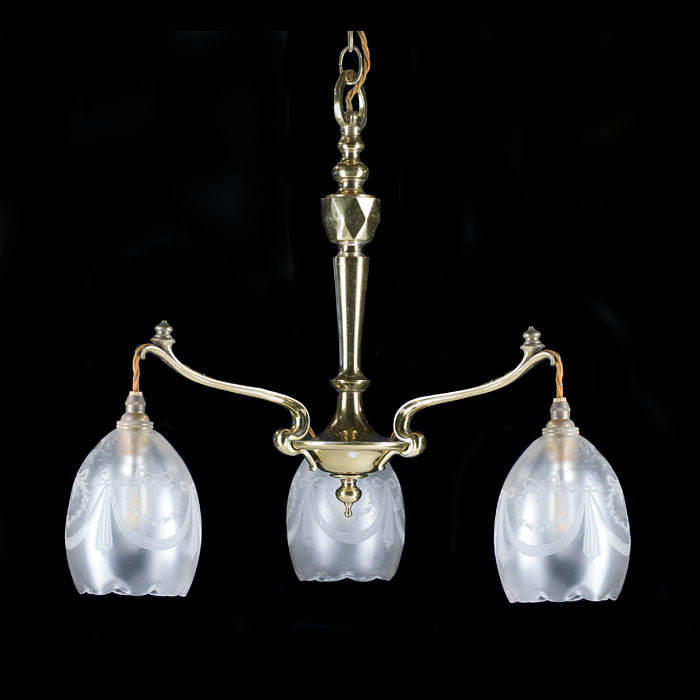 A three branch  Art Nouveau ceiling light