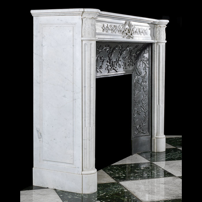 A Louis XVI Carrara Marble small antique fireplace mantel