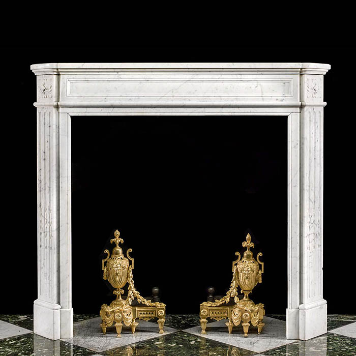 A Carrara Marble Louis XVI Fireplace Mantel