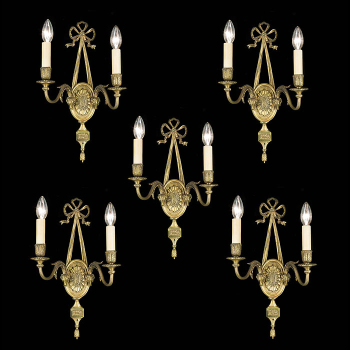 20th century set of five brass Regency style wall lights