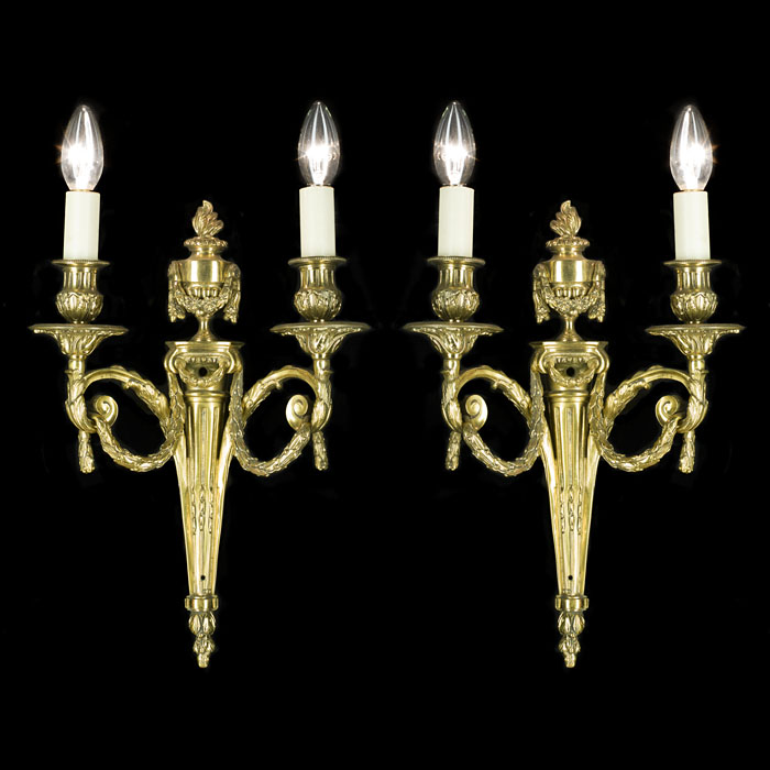Neoclassical Style Pair of Brass Wall Lights