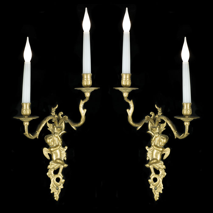 Twin Branch Pair of Rococo Style Wall Lights