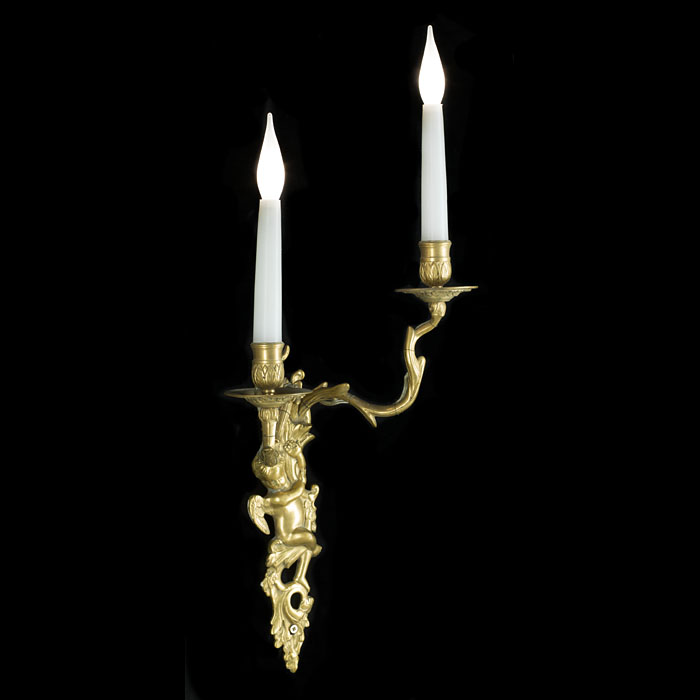 Twin branch 20th century pair of brass wall lights