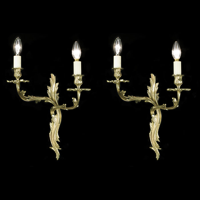 Cast Brass Pair of Rococo Style Wall Lights
