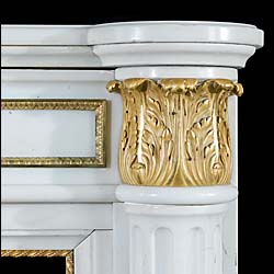 An attractive Louis XVI Statuary Marble Fireplace Mantel
