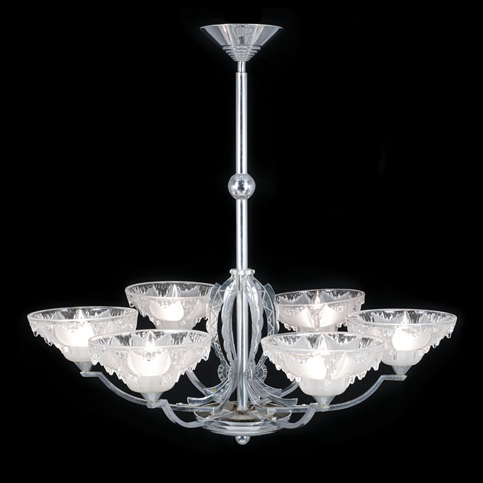 An Art Deco chrome plated six branch ceiling light
