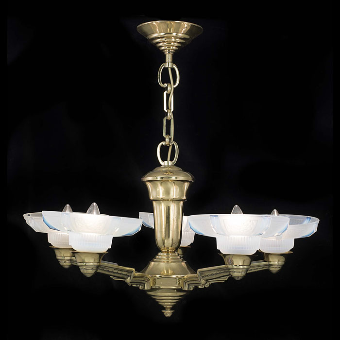 A five branch Art Deco ceiling light