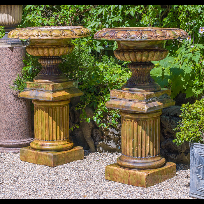 Fine pair of large antique Scottish glazed stoneware urns