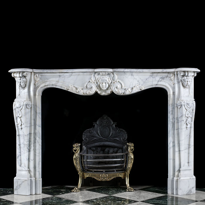 An Arabescato Marble Louis XV Fireplace