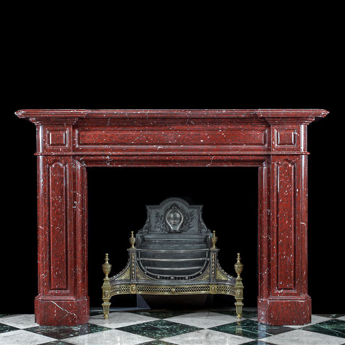 A beautiful deep Griotte Rouge Marble Victorian fireplace mantel
