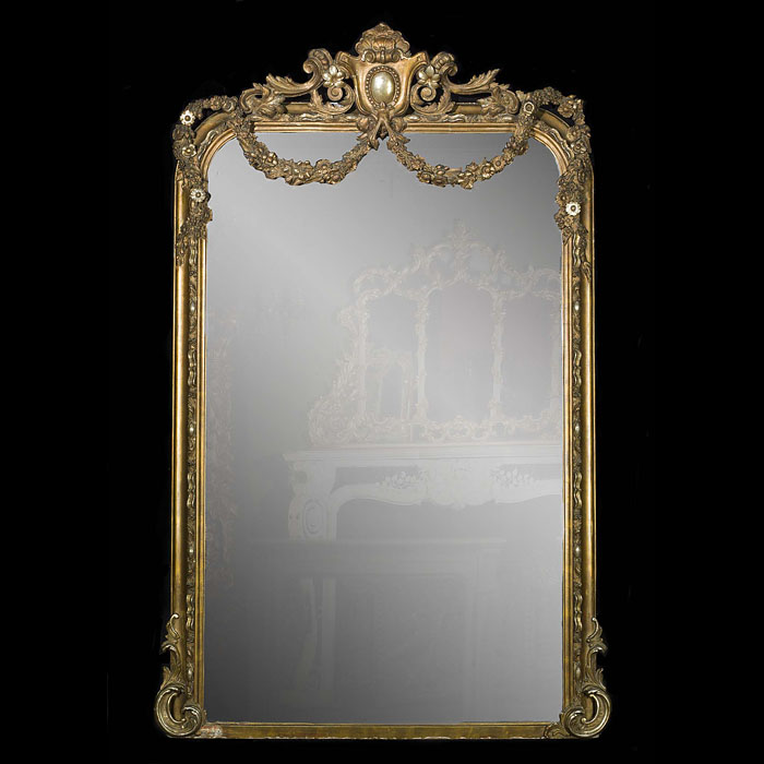 A Large Louis XVI Giltwood Overmantel Mirror