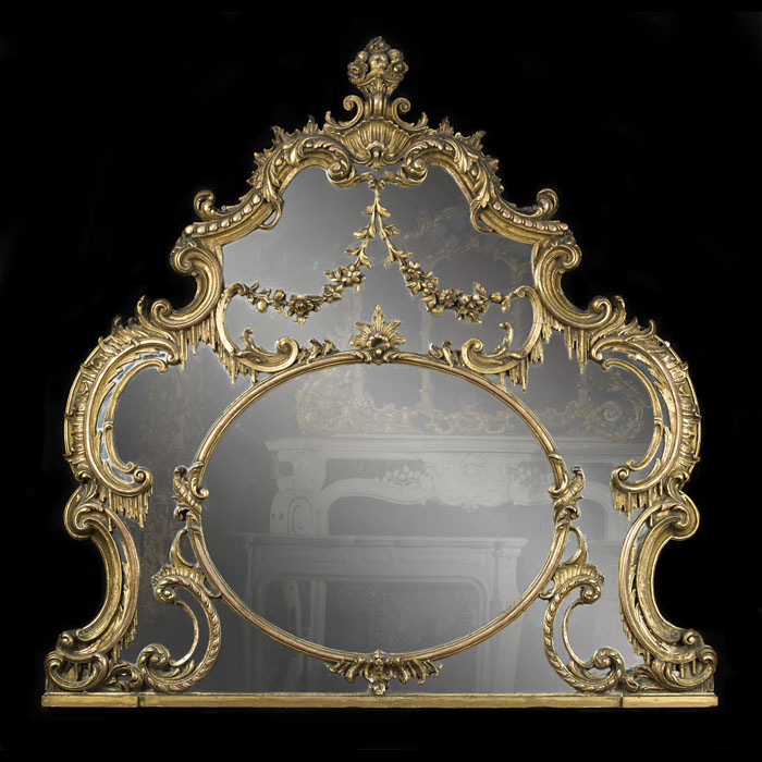 A Rococo Chippendale Style Overmantel Mirror