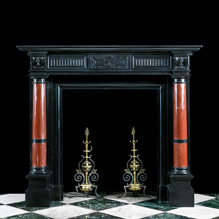 A Belgian Black Marble Antique Fireplace