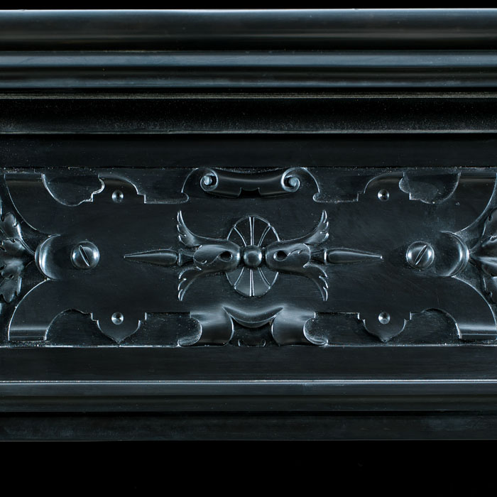 A Belgian Black and Rosso Antico Marble  antique fireplace mantel