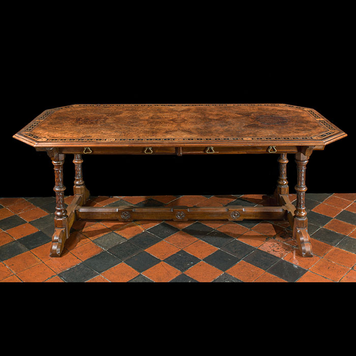 Gothic Revival Pugin inlaid walnut library table