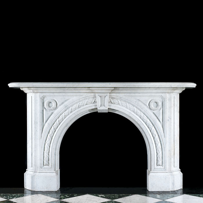 An Arched Carrara Marble Victorian Fireplace