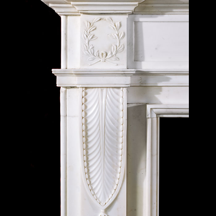 An elegant and tall Georgian Statuary Marble Fireplace Surround