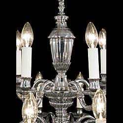 A complete set of seven 20th century nickel plated brass chandeliers in two sets