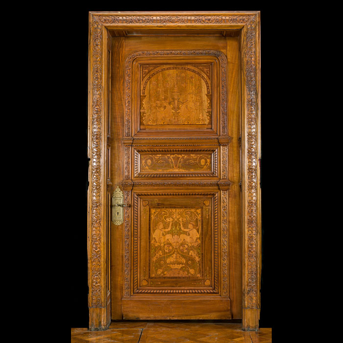 A Victorian Walnut Marquetry Door