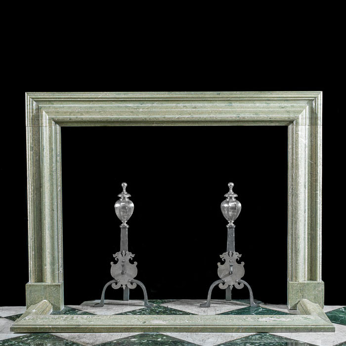 A large green Connemara Marble Victorian fireplace mantel