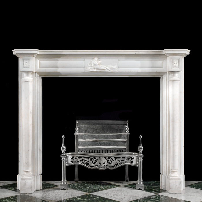 A Regency Statuary Marble columned antique fireplace mantel