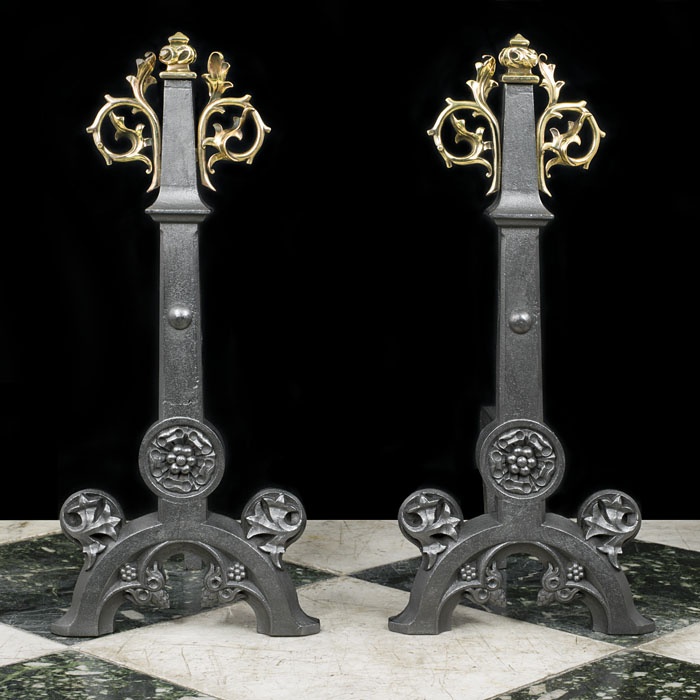Pair of Brass Gothic Revival Pugin Andirons