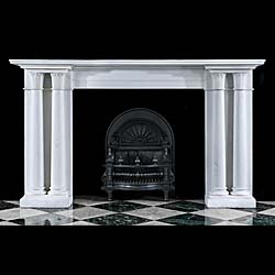 A Statuary Marble twinned columned Regency fireplace mantel