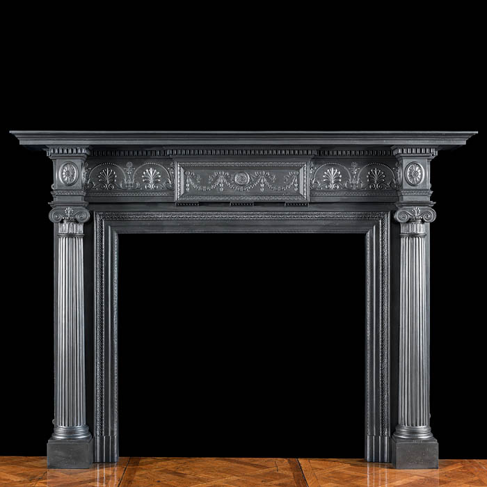 A large Coalbrookdale cast iron Victorian fireplace mantel