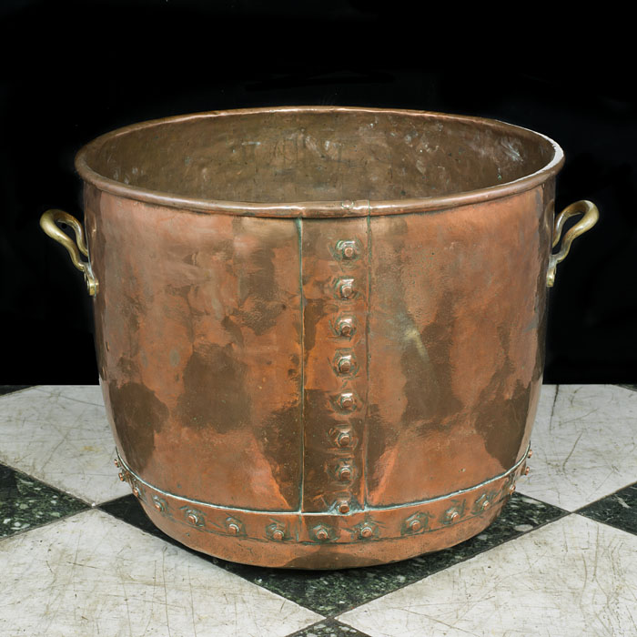 A large and fine Victorian antique copper log bin