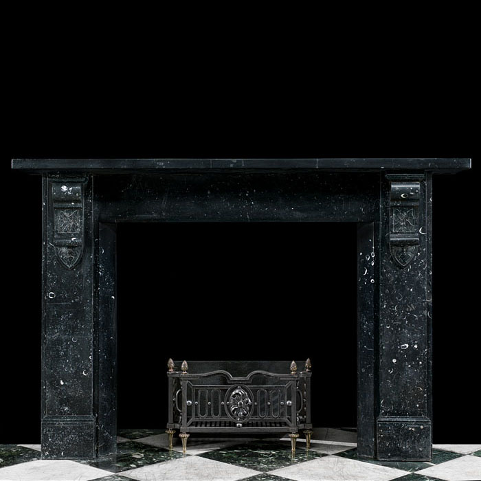 A Black Kilkenny Fossil Marble antique fireplace mantel