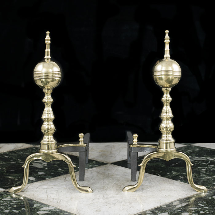 A Pair Of Brass Federal Style Andirons