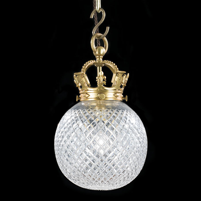 A Cut Glass Globe Shaped Ceiling Light
