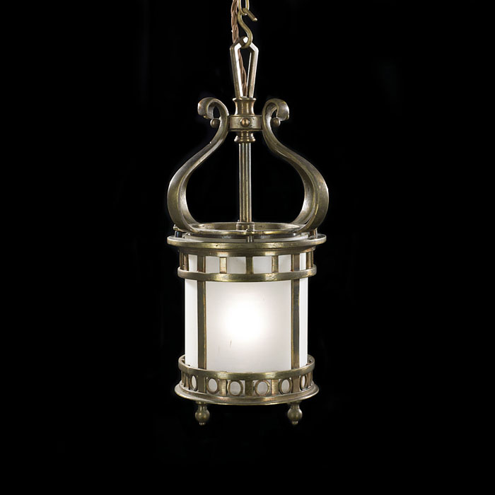A Small Bronze Edwardian Hall Lantern