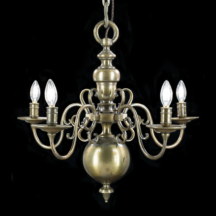 A Dutch Style Five Light Brass Chandelier