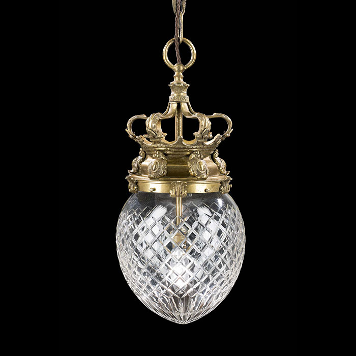 A Cut Glass Edwardian Pendant Hall Light