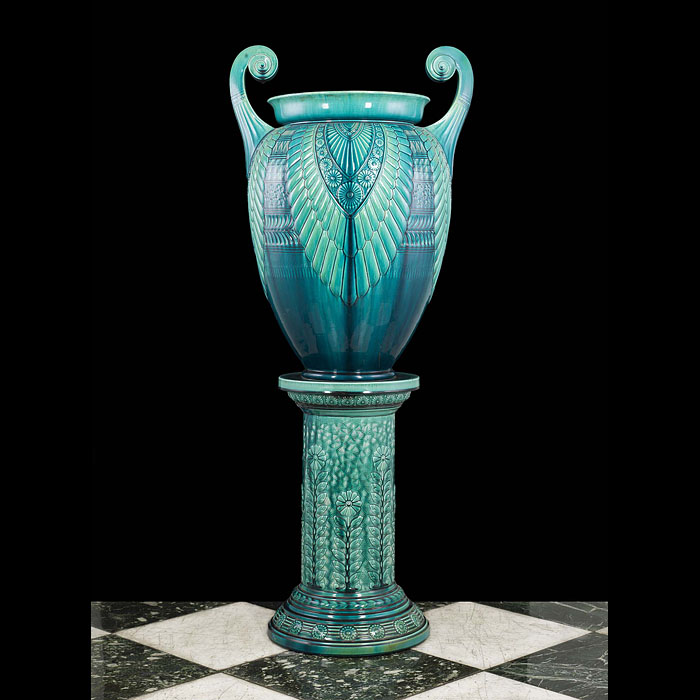 A Rare Linthorpe Glazed Ceramic Urn and Stand