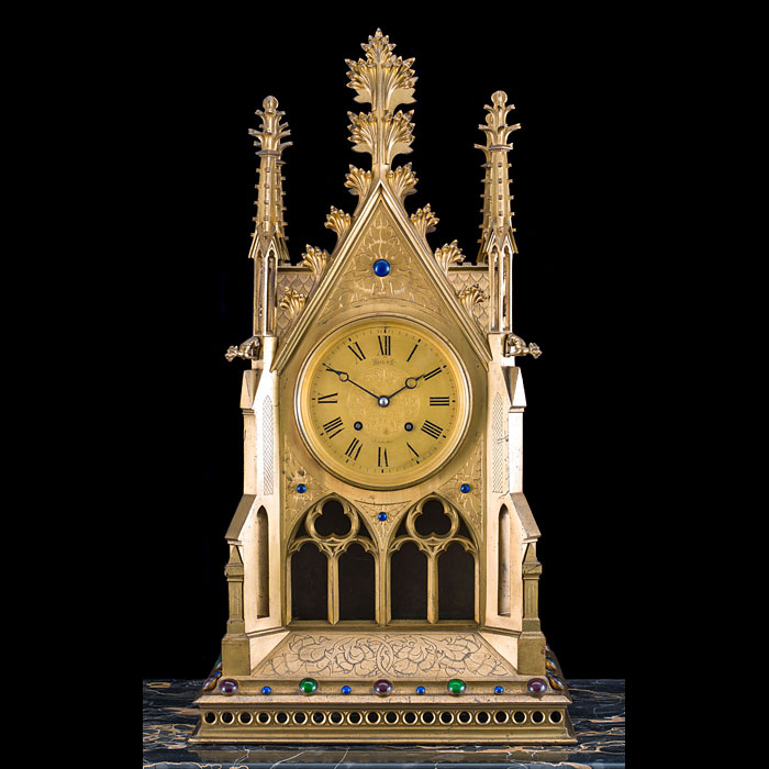 A Large French Gothic Revival Mantel Clock