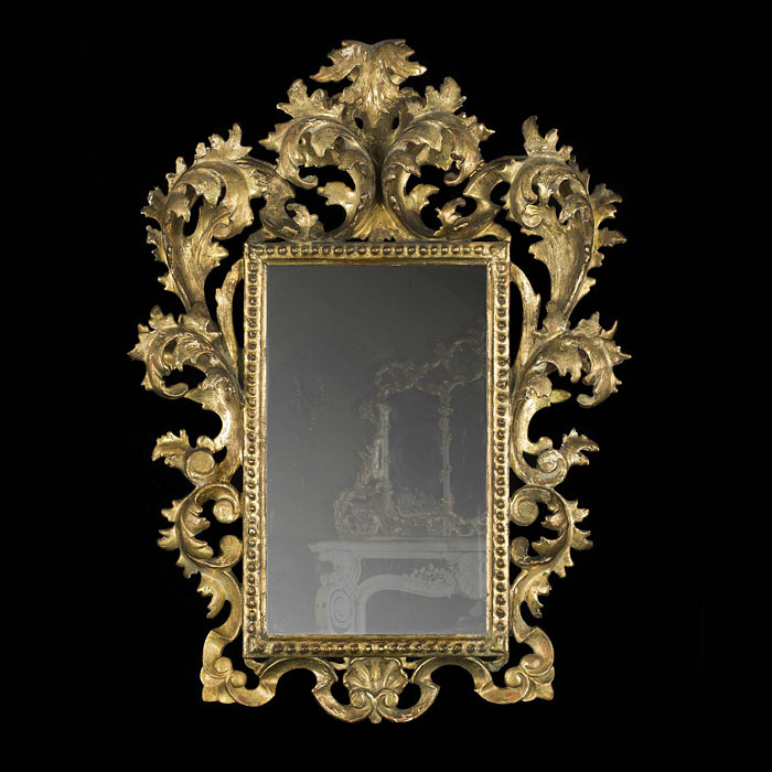 An Italian Florentine Gilt Wood Wall Mirror