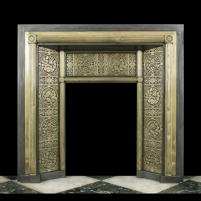 A Brass & Iron Victorian Fireplace Insert