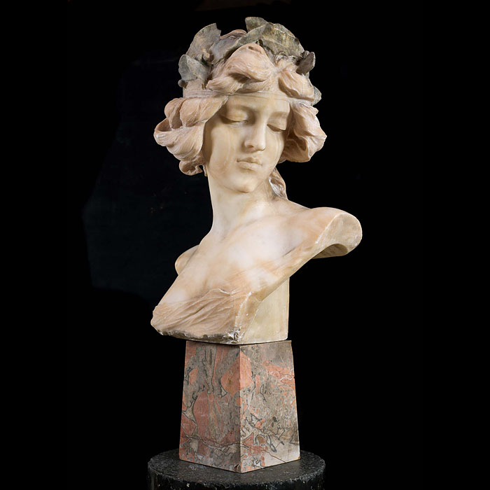 An Alabaster Bust of an Art Nouveau Woman
