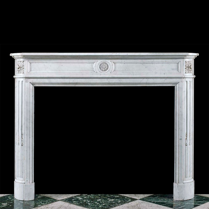 A Louis XVI Carrara Marble Fire Surround