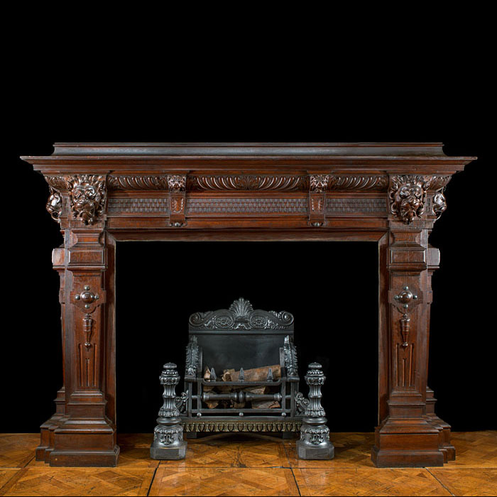 A huge Baroque style oak chimneypiece