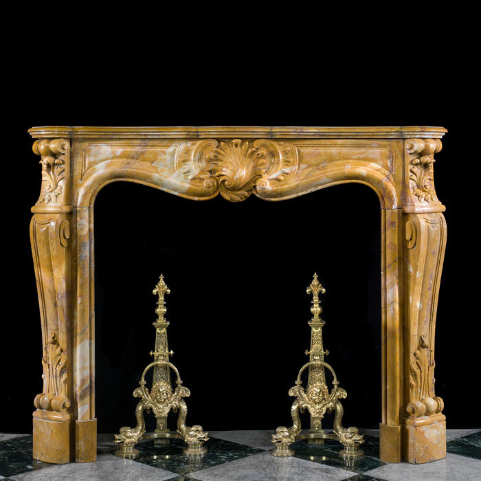 A Sienna Marble Louis XV Fire Surround
