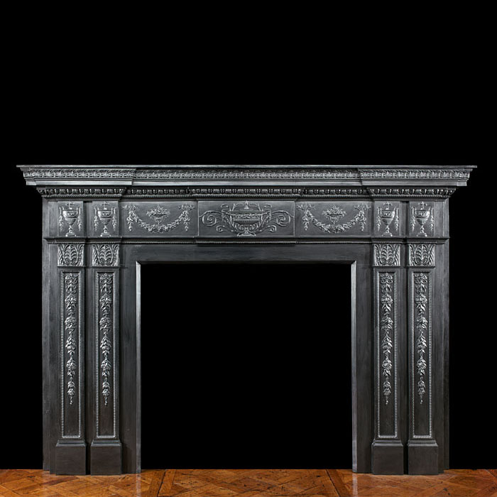 A Large Coalbrookdale Cast Iron Fireplace